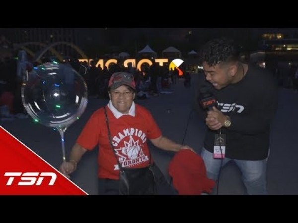 THESE RAPTORS FANS SHOWED UP FOR THE PARADE AT MIDNIGHT